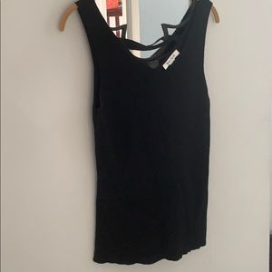 Black sleeveless sweater tank top